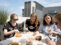 Çatıda öğle yemeği