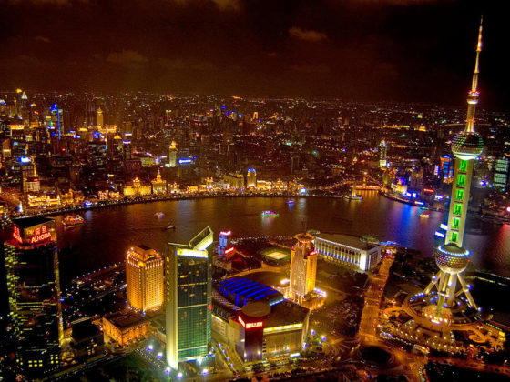 Gece Şanghay Rıhtım Bölgesi